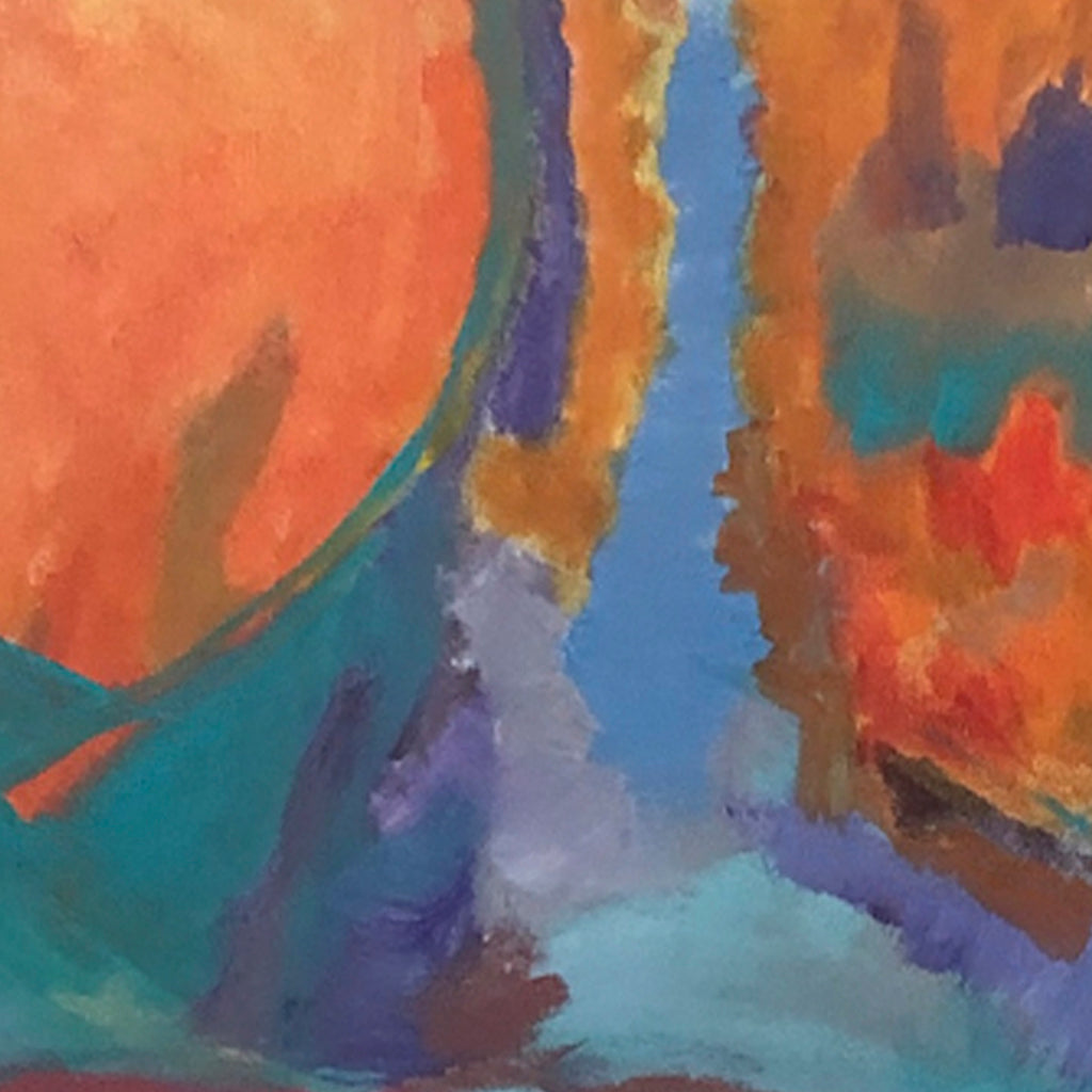 An original Expressionist Abstract Acrylic Landscape painting Burnt Orange by Beth Barry based in New York