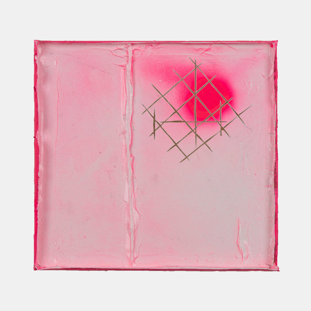 An original hot pink mixed media painting  by Troy Medinis, an artist who has exhibited in New York, titled Control Point