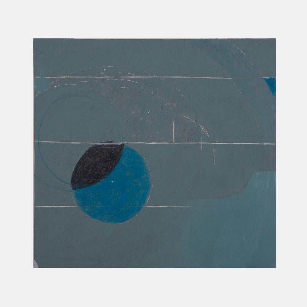 An original abstract blue mixed media minimal painting by Troy Medinis, an artist who has exhibited in New York, titled Scraped (3)
