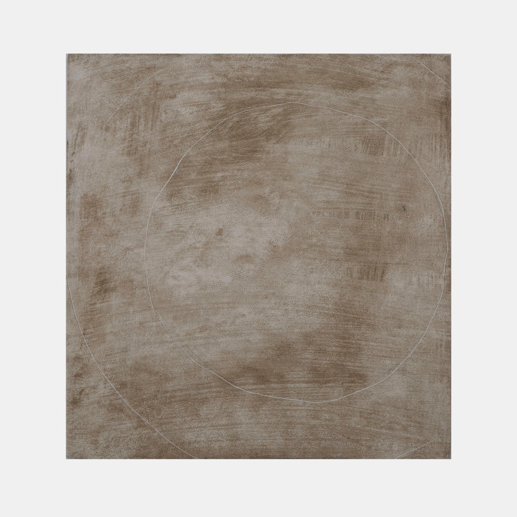 An original neutral abstract mixed media minimal painting by Troy Medinis, an artist who has exhibited in New York, titled Small Cross
