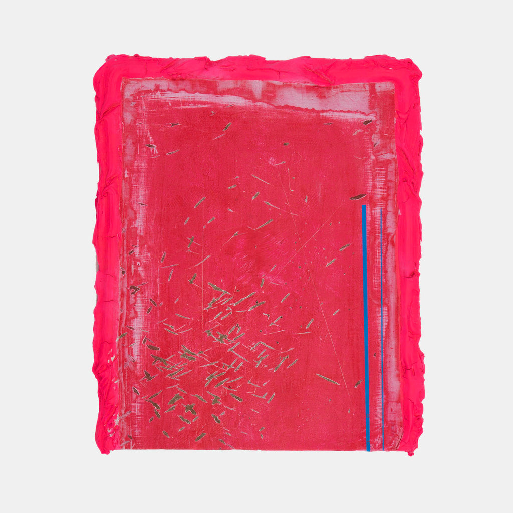 An original hot pink mixed media painting  by Troy Medinis, an artist who has exhibited in New York, titled 2