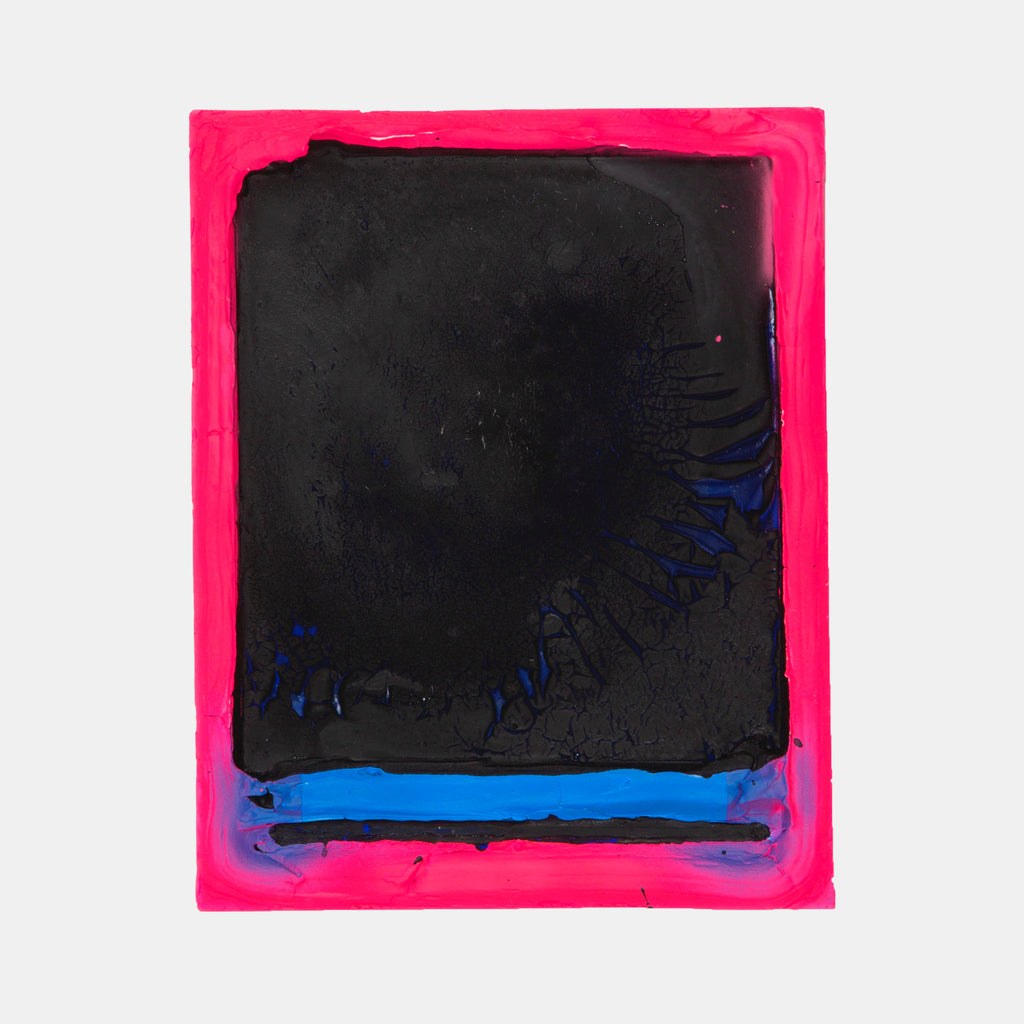 An original abstract neon mixed media painting  by Troy Medinis, an artist who has exhibited in New York, titled Epitaph