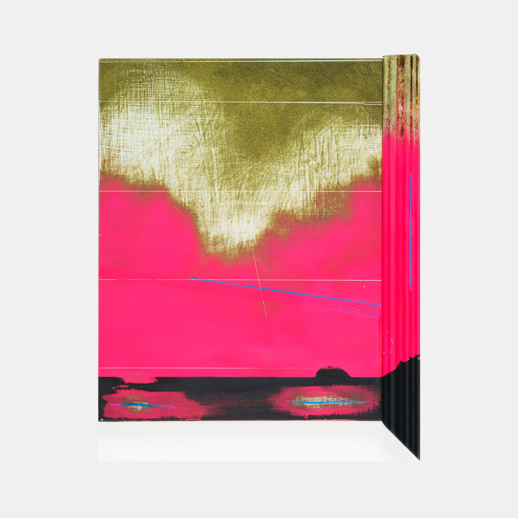 An original abstract neon spray paint mixed media sculptural painting by Troy Medinis, an artist who has exhibited in New York, titled Second Hour