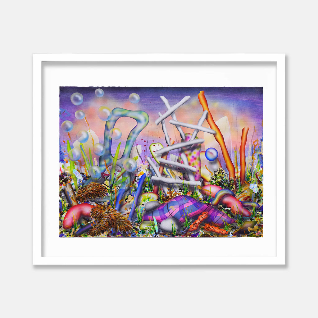 An original abstract colorful artwork by an artist Jon Duff who is based on Brooklyn, New York. Jon is inspired by science fiction and evolutionary psychology. Jon received his MFA from the Maryland Institute College of Art (MICA).