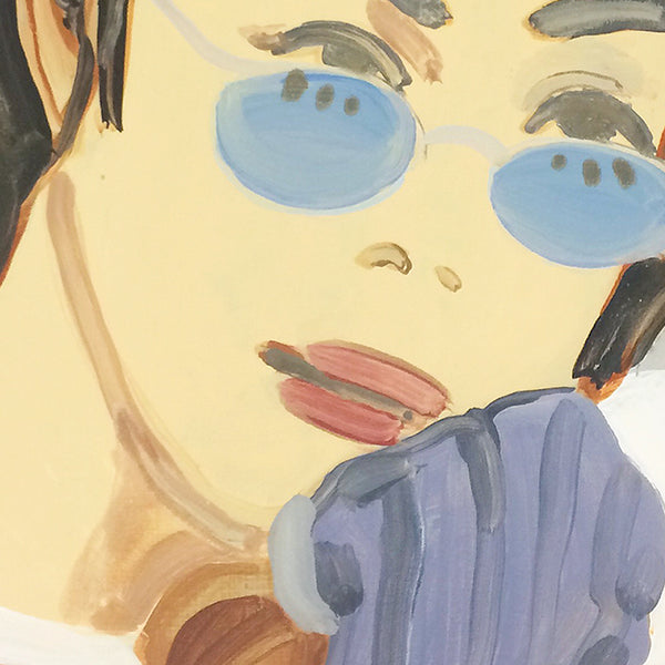 Detail of an original portrait painting by Michelle Selwa, an artist who has exhibited in New York titled Faye