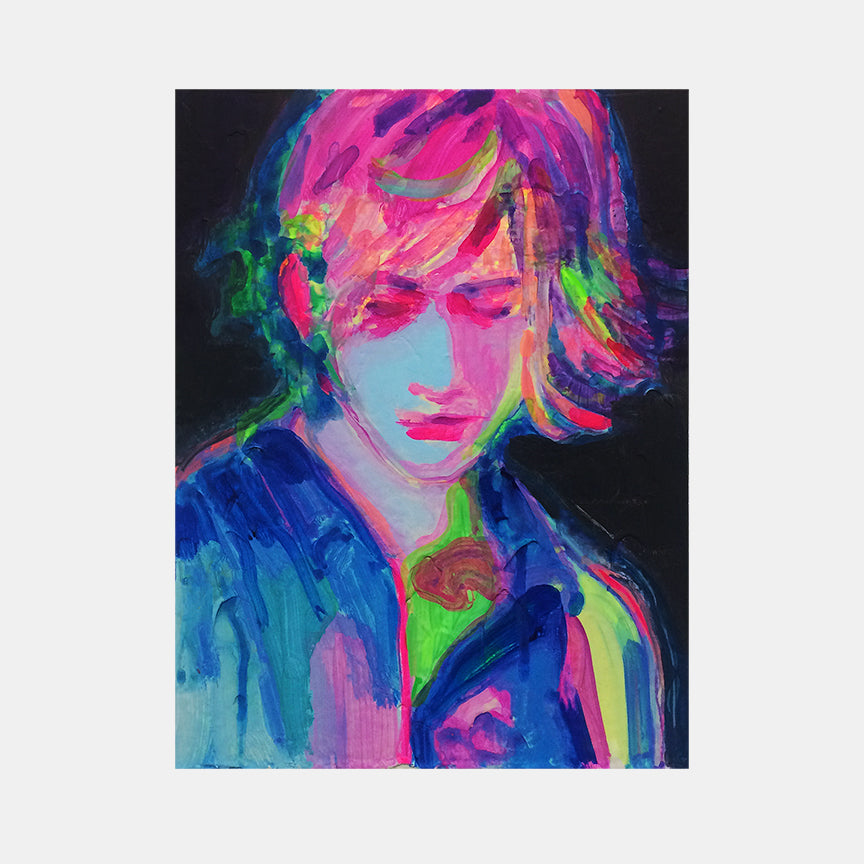 An original portrait painting by Michelle Selwa , an artist who has exhibited at New York, titled Fergus (manipulated).
