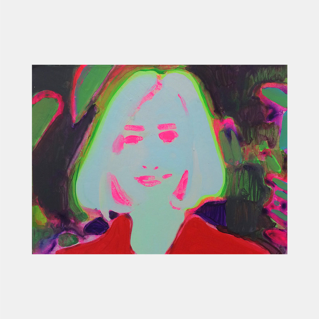 An original portrait painting by Michelle Selwa , an artist who has exhibited at New York, titled Geocities Portrait (green).