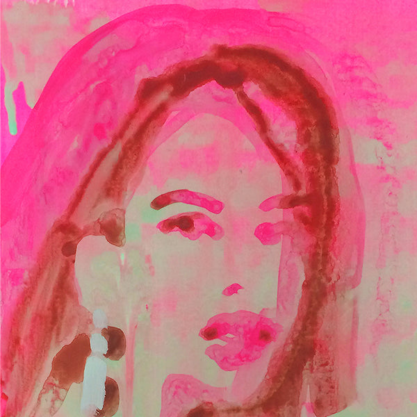 An original portrait painting by Michelle Selwa , an artist who has exhibited at New York, titled Geocities Portrait (pink).