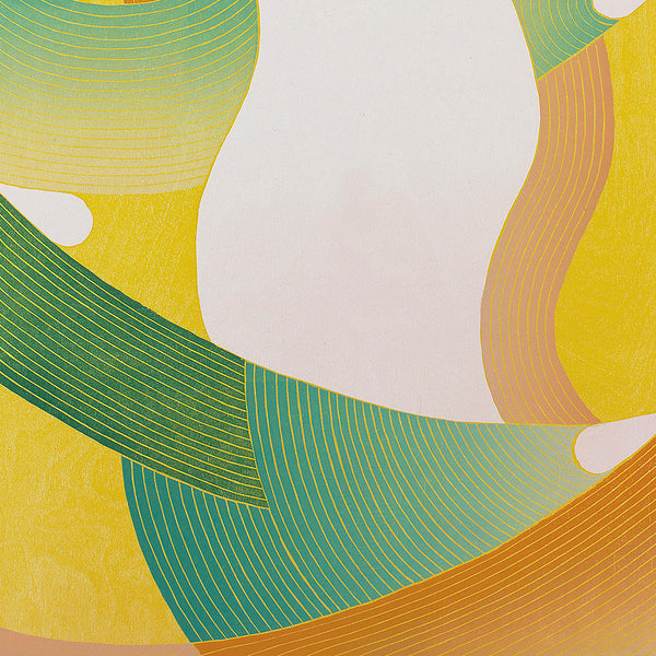An original geometric abstract acrylic painting by Jenny Kemp, an artist who has exhibited in New York, titled Inside Orange Thread