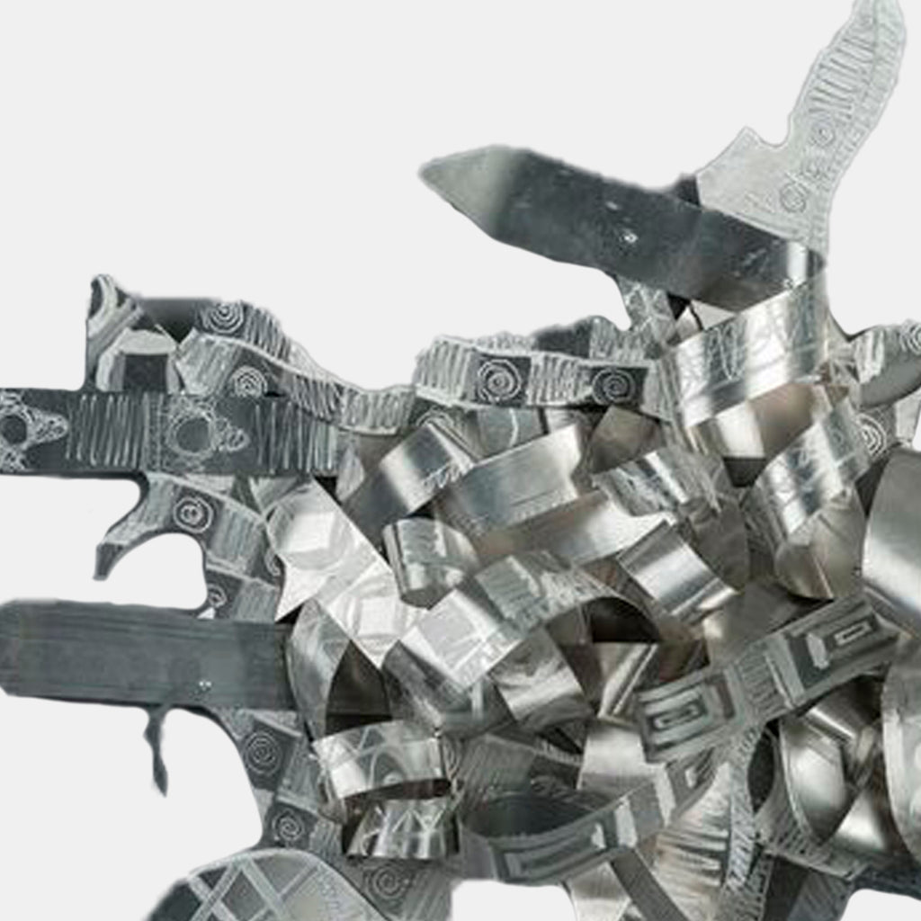 An original fetched aluminum sculpture by Kevin Cole an artist who has exhibited in New York, titled Faith With NO