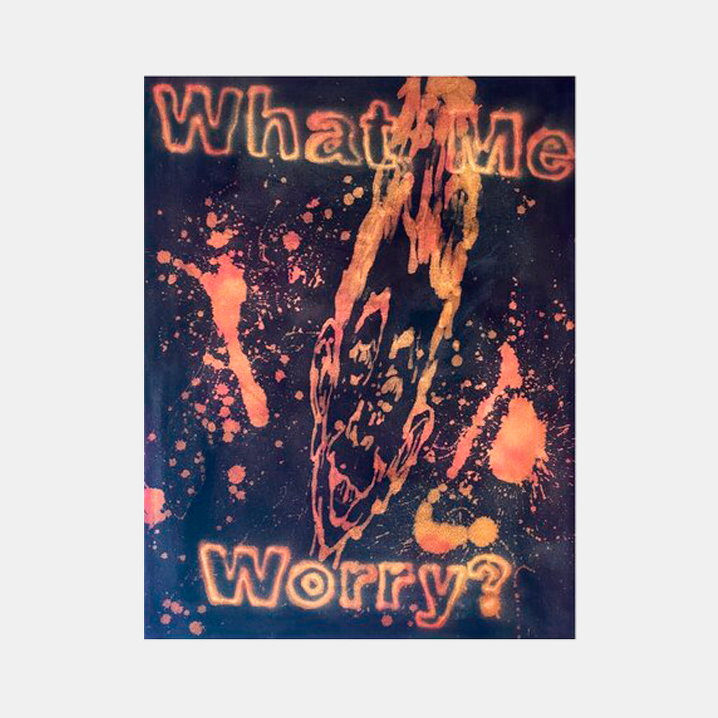 An original acrylic on canvas tie dye painting by Katie Hector an artist who has exhibited in New York, titled What Me Worry?