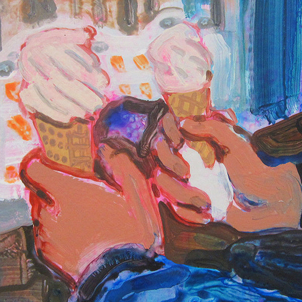 An original figurative painting of ice cream by Michelle Selwa, an artist who has exhibited in New York, titled Lula's Sweet Apothecary
