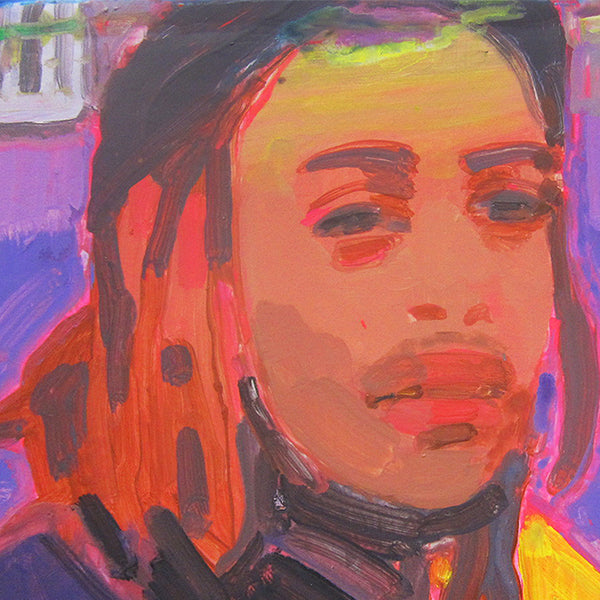 An original portrait painting of dreadlock man by Michelle Selwa, an artist who has exhibited in New York titled Nelson in Hi8