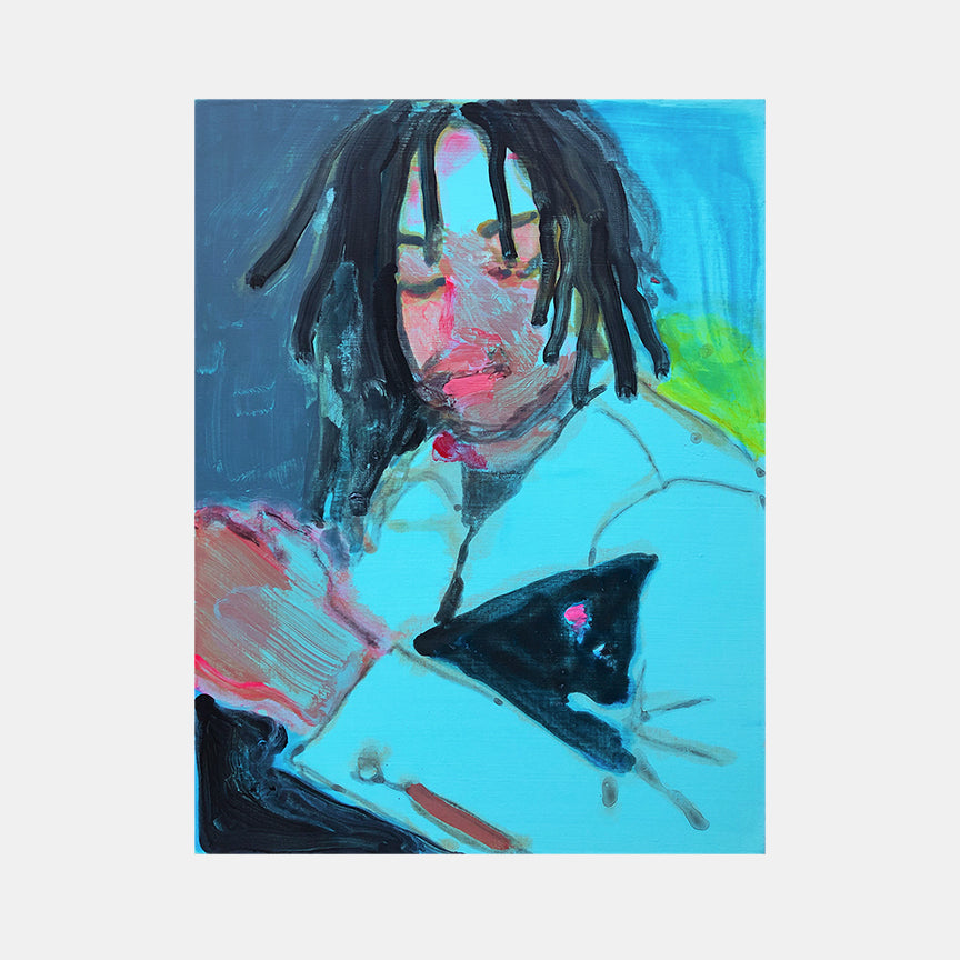 An original portrait painting of dreadlock man with cat by Michelle Selwa, an artist who has exhibited in New York titled Nelson with Kitten (blue)