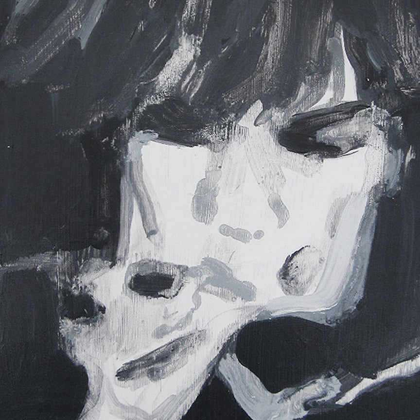 An original black and white portrait of a singer  by Michelle Selwa, an artist who has exhibited in New York titled Public Image Ltd - Metal Box