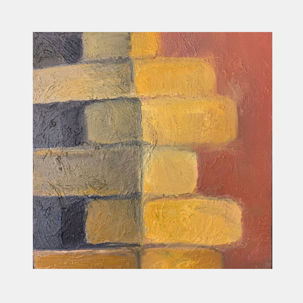 An original abstract oil painting by Rita BasuMallick an artist who has exhibited in New York, titled Blocks