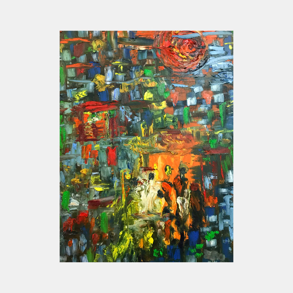 An original abstract oil painting by Rita BasuMallick an artist who has exhibited in New York, titled City Scape
