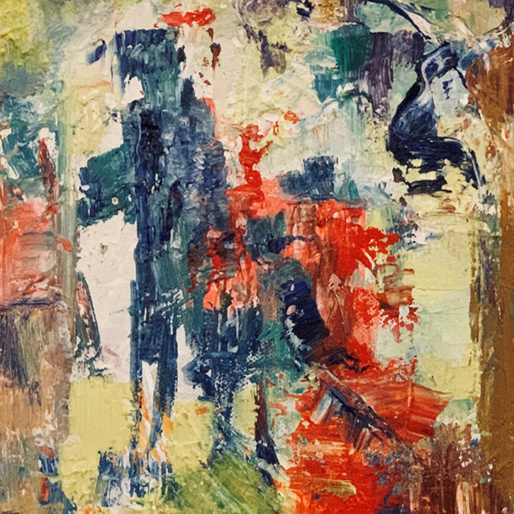 An original abstract oil painting by Rita BasuMallick an artist who has exhibited in New York, titled Man and the Child