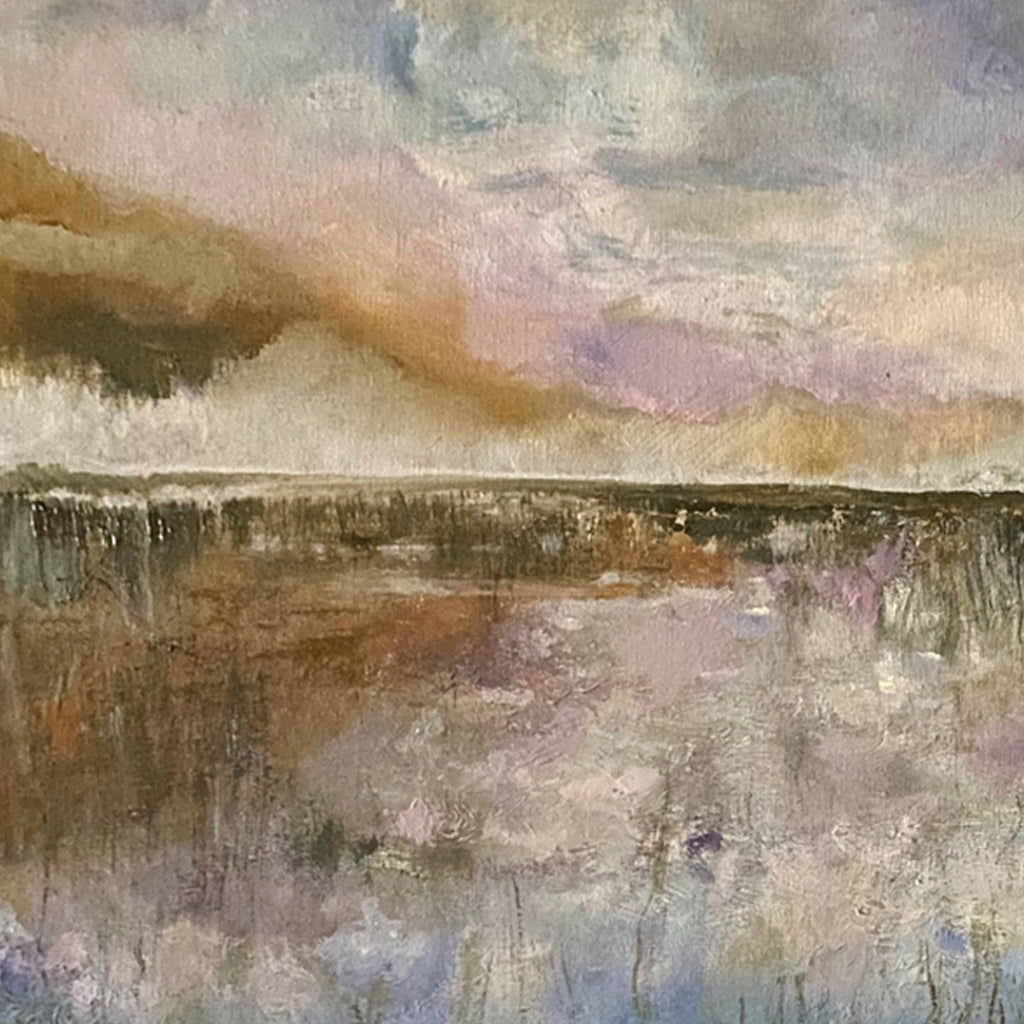 An original abstract oil painting by Rita BasuMallick an artist who has exhibited in New York, titled Reflections 3