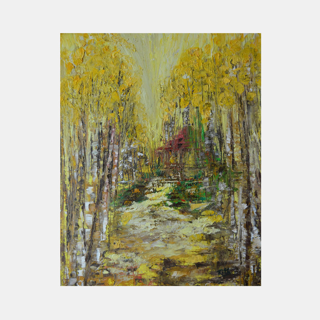 An original nature oil painting by Rita BasuMallick an artist who has exhibited in New York, titled Road Taken