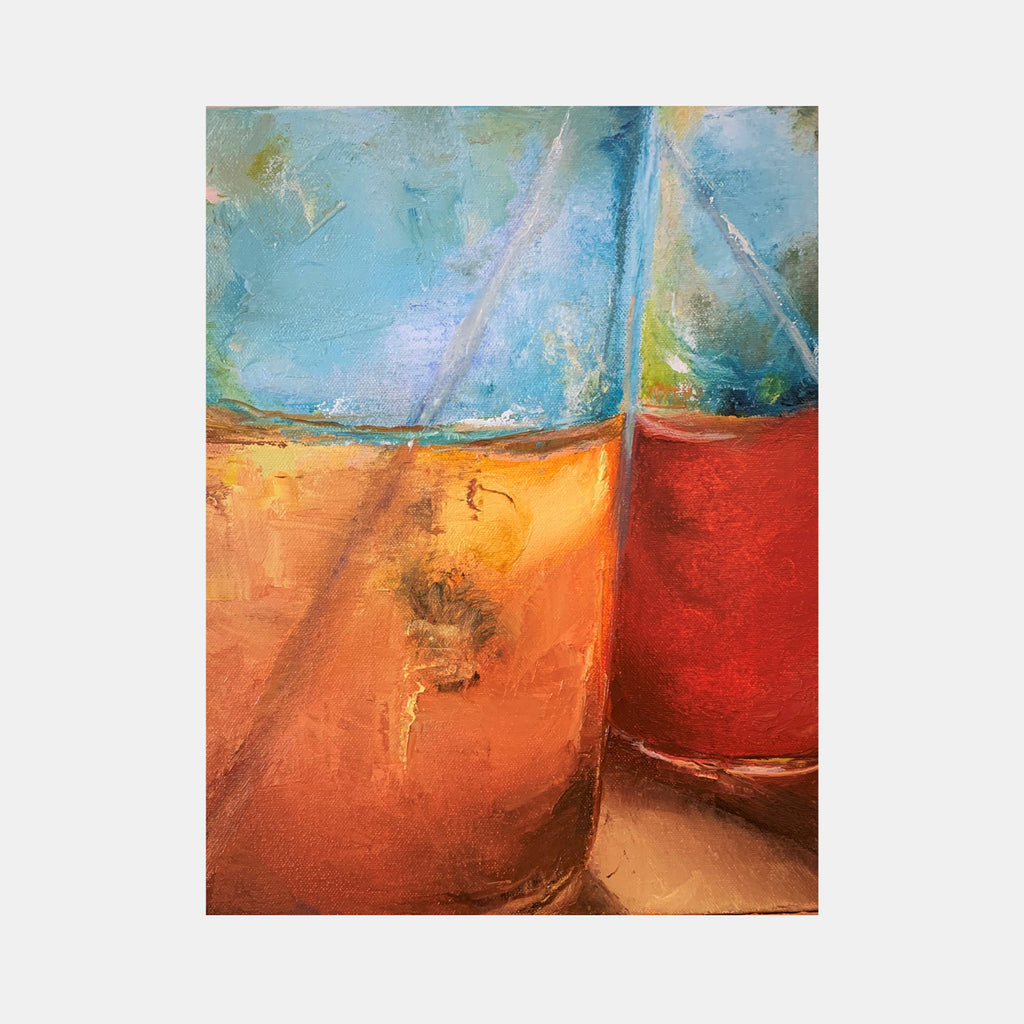 An original oil painting by Rita BasuMallick an artist who has exhibited in New York, titled Sunny Serum