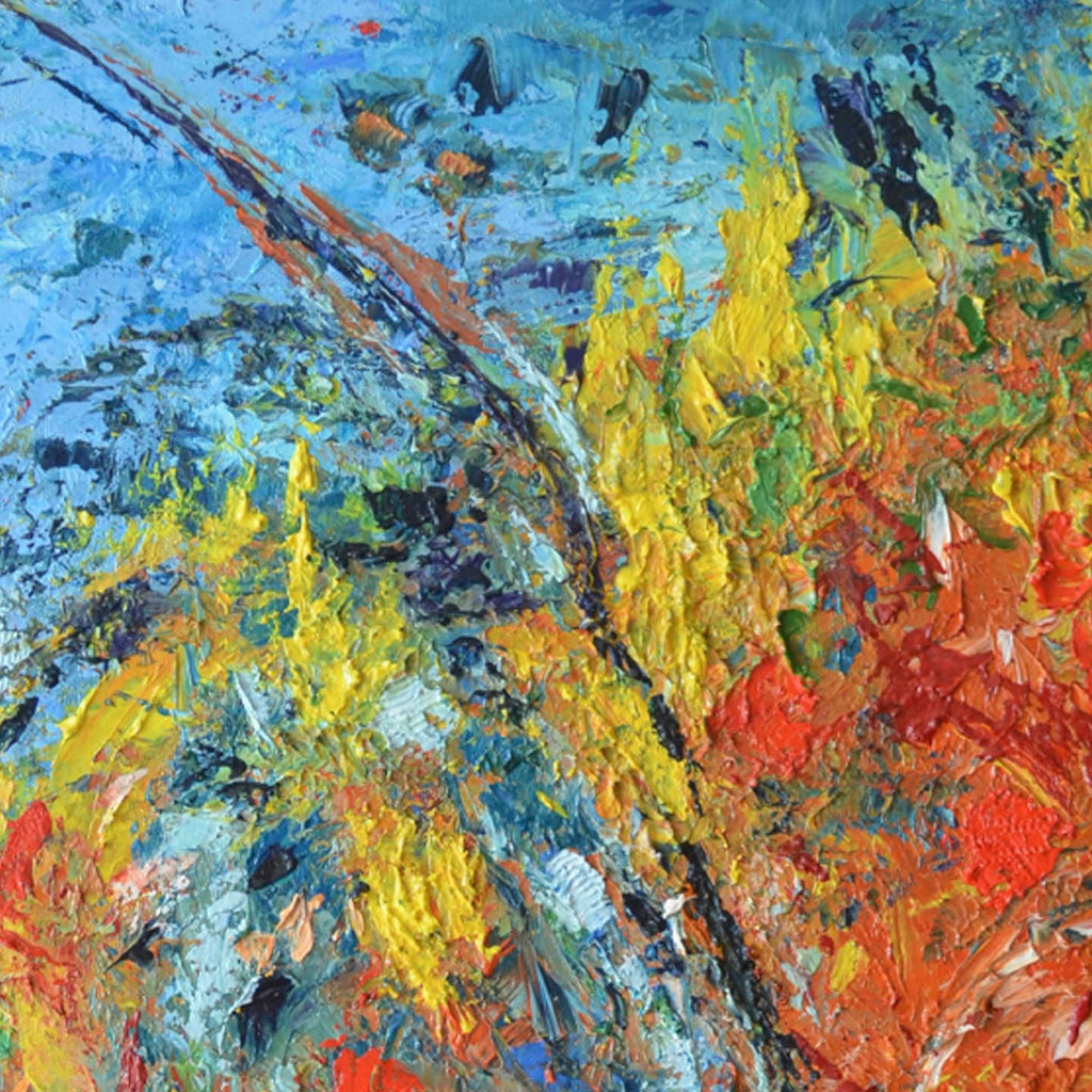 An original oil painting by Rita BasuMallick an artist who has exhibited in New York, titled The Churn