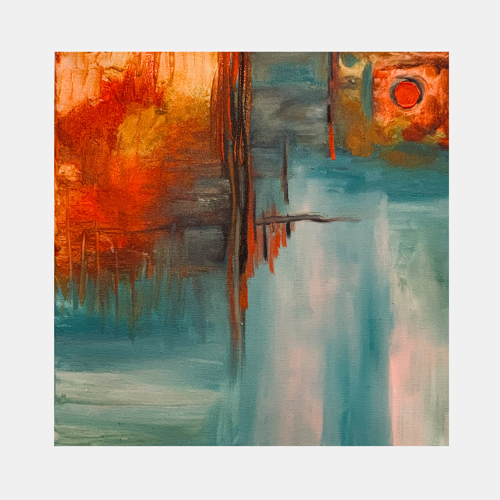 An original oil painting by Rita BasuMallick an artist who has exhibited in New York, titled Vibrant (Sunrise)