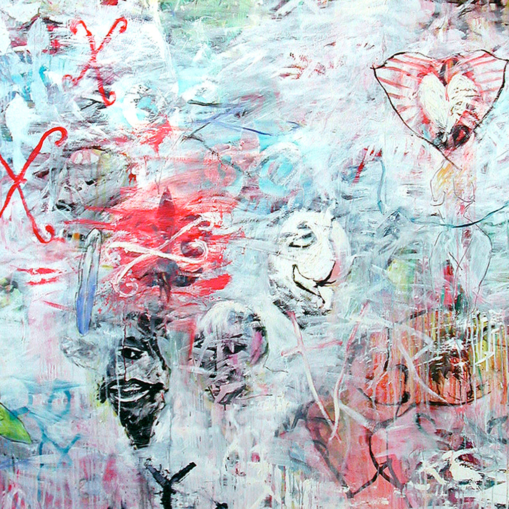 An original abstract artwork by New York artist Ford Crull. Ford explores personal and cultural symbolism, imagery ranging from hearts and texts to unidentifiable symbols. His works are represented in prominent museums such as The Metropolitan Museum of Art, Brooklyn Museum, National Gallery of Art, and are part of many corporate and private collections.