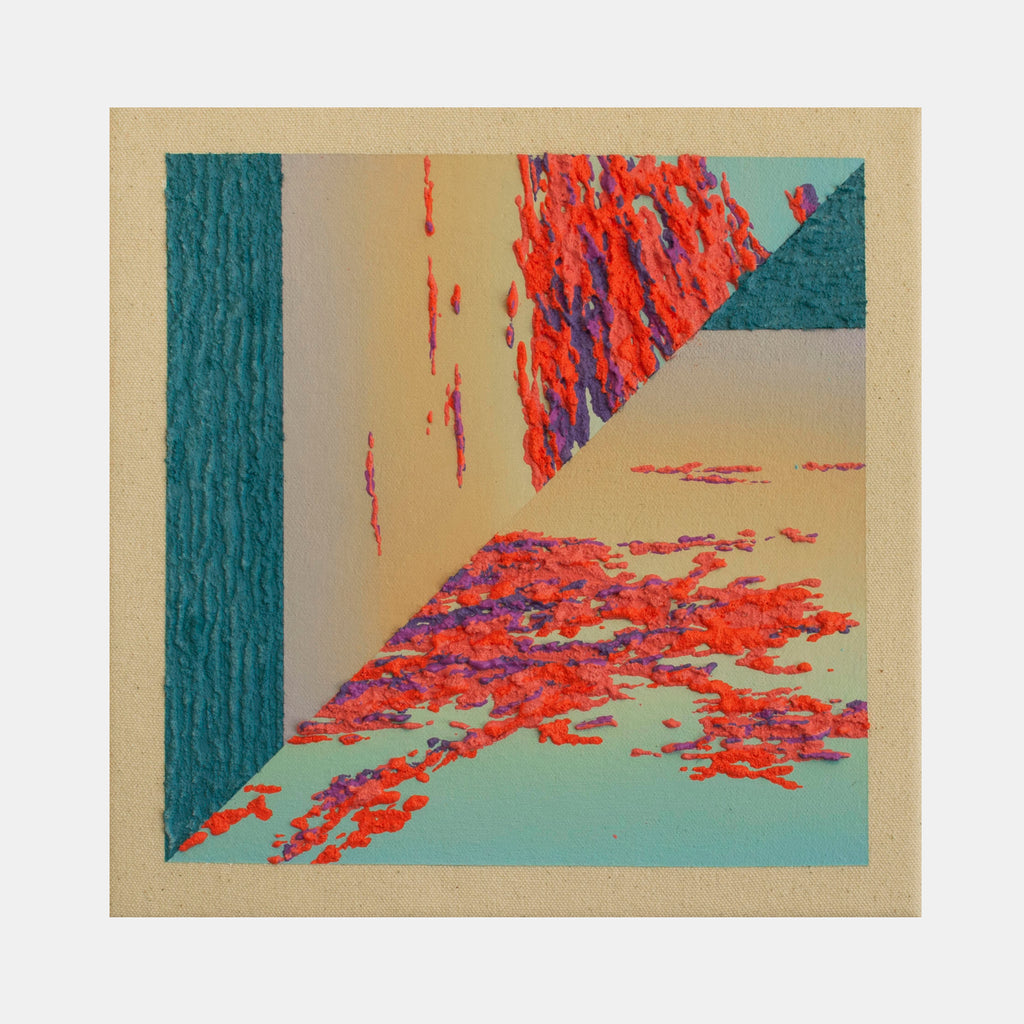 An original abstract artwork by Saskia Fleishman. Saskia graduated from Rhode Island School of Design in 2017 with a BFA in painting and based in Brooklyn, New York. Her body of work, including both painting a ceramic sculpture, is inspired by landscape photographs taken on recent trips and images sourced from her family's collection taken around the tidewater Chesapeake Bay area.