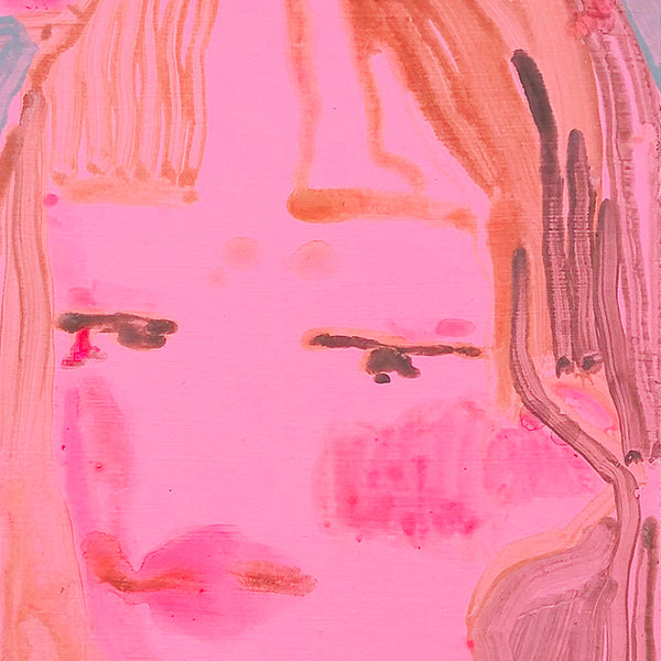 An original neon pink portrait of a woman by Michelle Selwa, an artist who has exhibited in New York titled Self Portrait (pink)