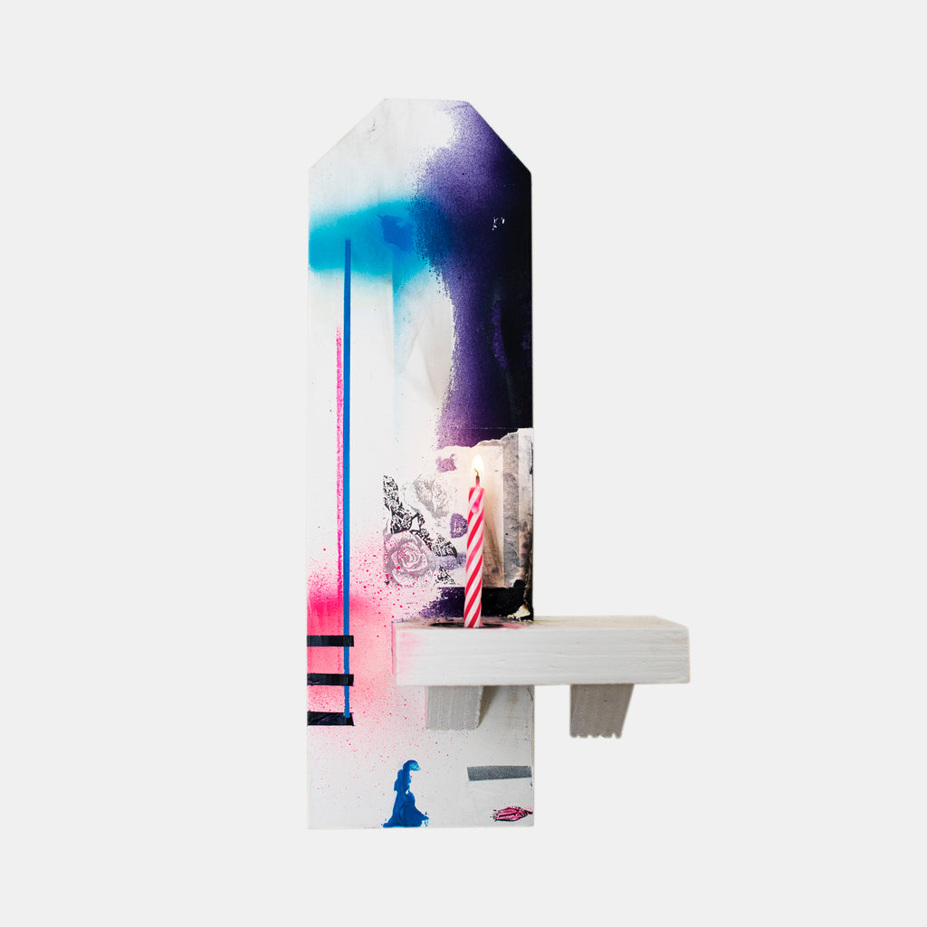 An original neon spray paint found object mixed media sculpture by Troy Medinis, an artist who has exhibited in New York, titled Shrine to the Letter