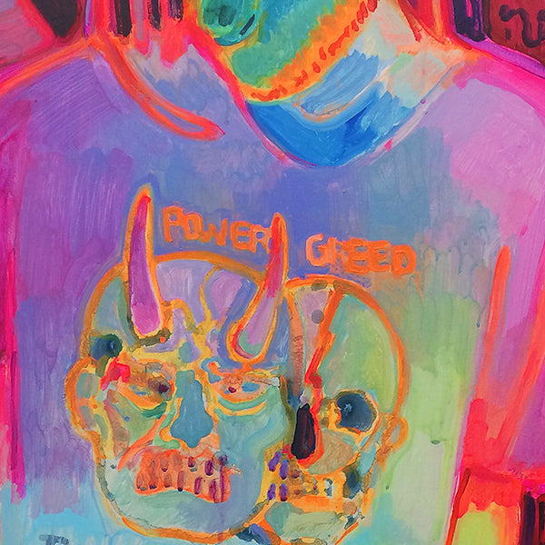 An original neon portrait of a man wearing metal t shirt by Michelle Selwa, an artist who has exhibited in New York titled Their Filth Continues