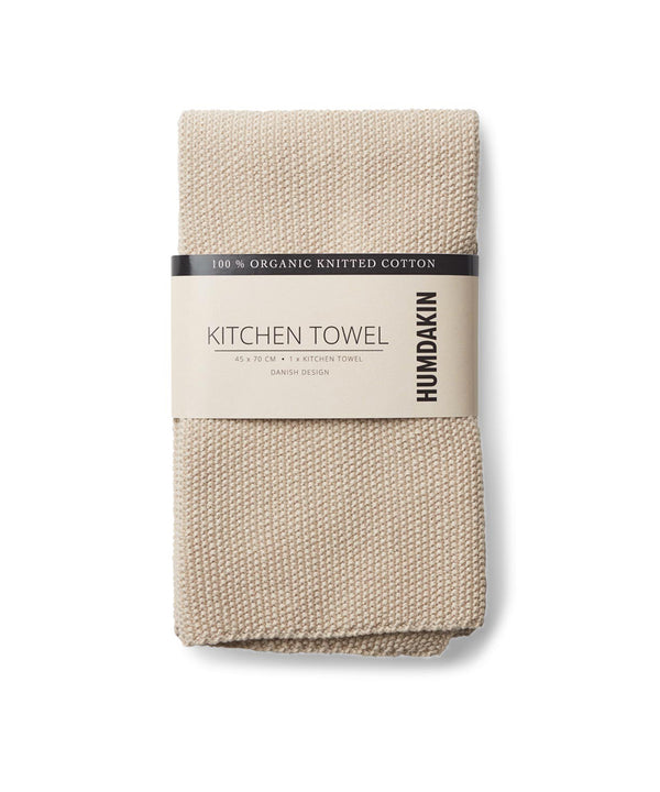 HUMDAKIN Knitted kitchen towel Organic textiles 01 Light Stone