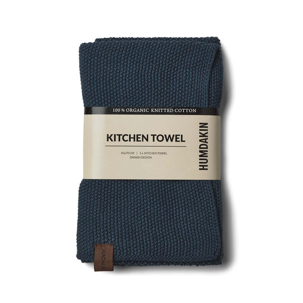 Knitted kitchen towel - Sea blue - humdakin.dk