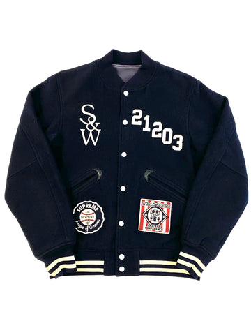 F/W 2009 Wtaps x Supreme 'Dazed And Confused' Varsity Jacket  Navy/White