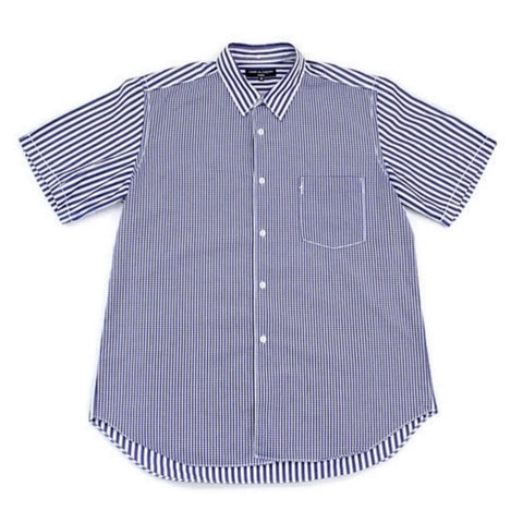 Comme Des Garçons Homme AD2008 Plaid Panel Short Sleeve Button-Up