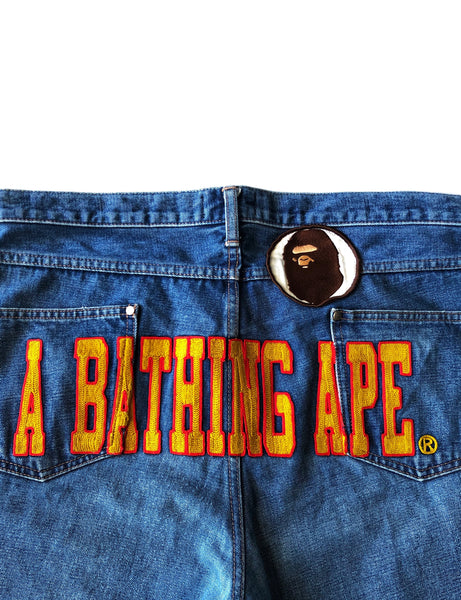 A Bathing Ape Stitch Logo Denim- Size XL