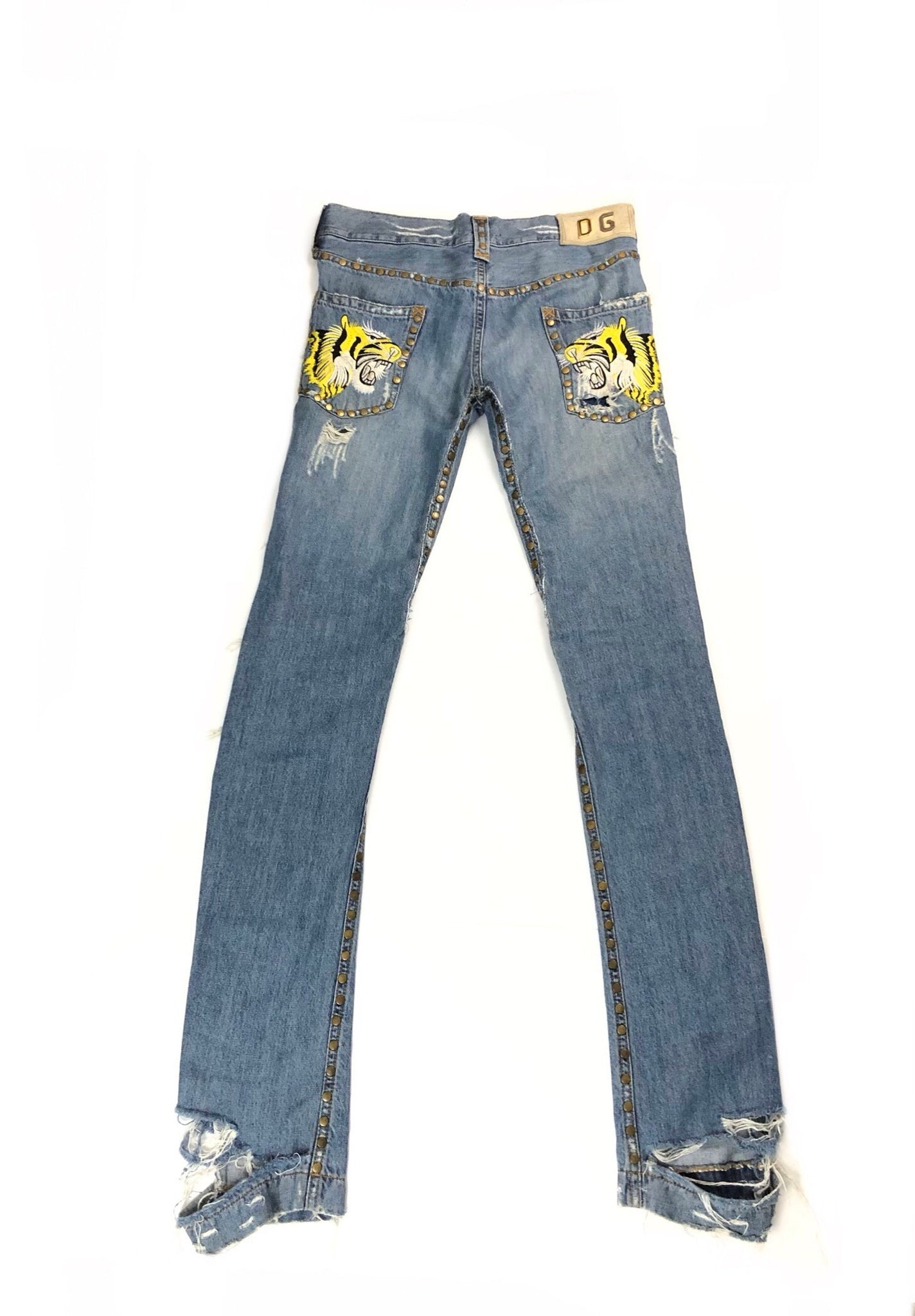 Dolce & Gabbana Embroidered Tiger Denim Pants