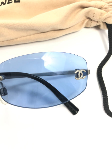 CHANEL SUNGLASSES BLUE TINT- OS