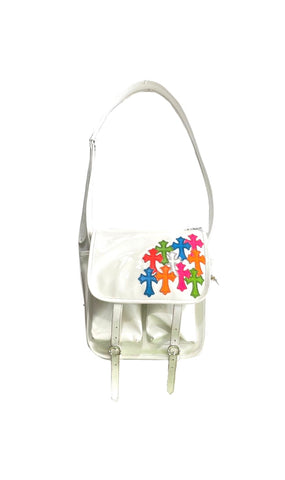Chrome Hearts Multicolor Cross Patchwork Patent Leather Shoulder Bag