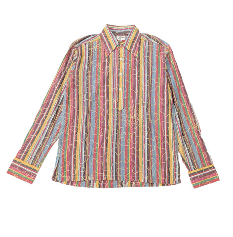 Needles Striped Multi-Color Threaded Button Up