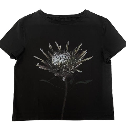 Maison Margiela Black Flower Print T-Shirt