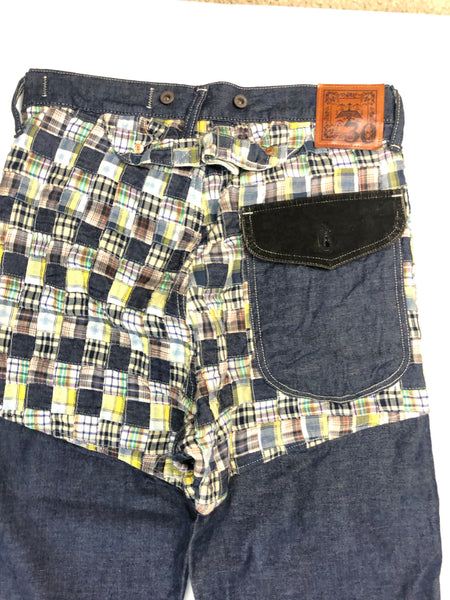 Kapital Navy Checkered Pattern Denim