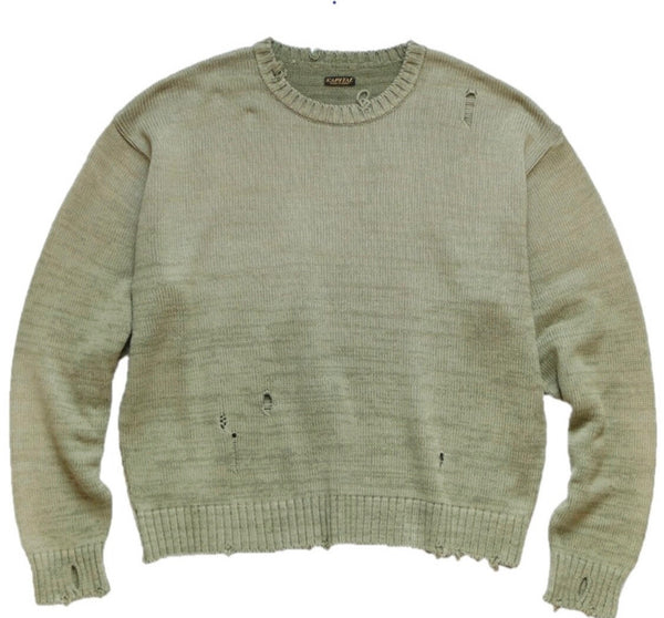 Kapital Distressed 5G Smiley Knit Sweater