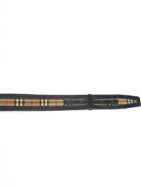 BURBERRY CHECK LEATHER BELT- OS