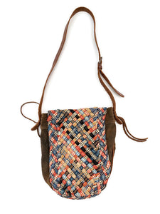 Kountry Intrecciato Woven Denim Shoulder Bag