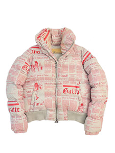 John Galliano Newspaper Print Puffer Jacket