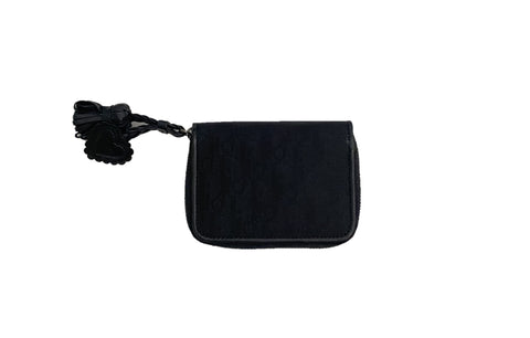 Dior Black Monogram Heart Tassle Coin Wallet