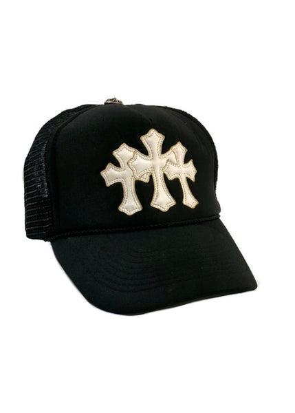 Chrome Hearts Leather Triple Cross Trucker Hat- OS