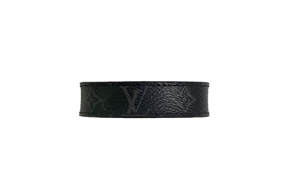 LV LOGO Silver Slim Leather Bracelet Monogram Eclipse Black